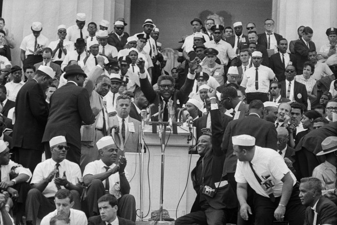 Bayard Rustin Speaking at Lincoln Memorial